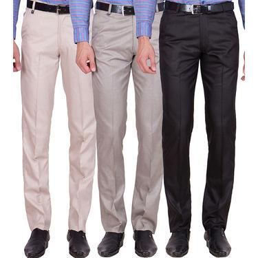 Tiger Grid Pack of 3 Cotton Formal Trouser For Men_Md042