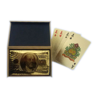 Golden Foil Playing Cards with Wooden Box