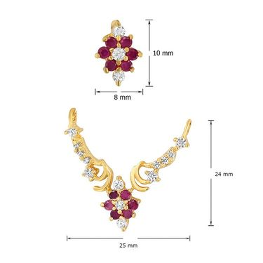 Mahi CZ & Ruby Gold Plated Mangalsutra Set_Nl1103519g