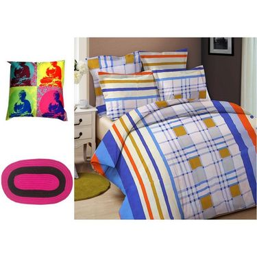 Combo of Valtellina Double Bedsheet + 2 Pillow Cover + 1 Cushion Cover & 1 Door Mat_Nld008
