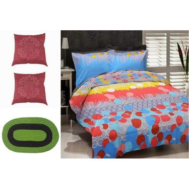 Combo of Valtellina Double Bedsheet + 2 Cushion Cover & 1 Door Mat_Nv1310