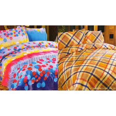 Set of 2 Multicolor Poly Cotton Double Bedsheet with 4 Pillow Covers -NLD-5-09_10
