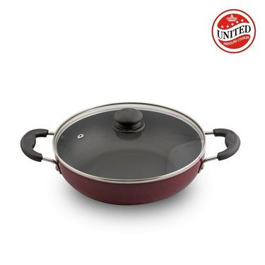 United Cookware Non Stick Deep Kadai With Glass Lid 240 mm
