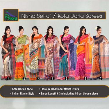 Nisha Set of 7 Kota Doria Sarees by Pakhi (7K5)