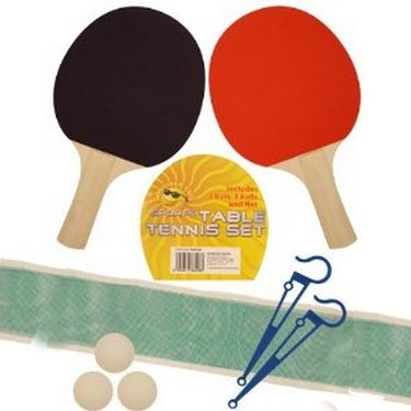 Pair Of Table Tennis Bats + 3 Balls + 1 Net With Fixing Stand