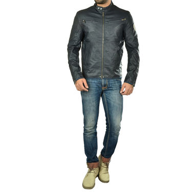 Branded Regular Fit Leather Jacket_Os23 - Navy Blue