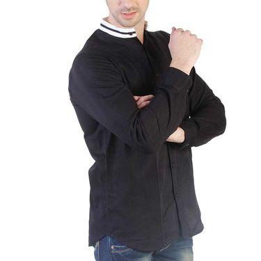 Branded Slim Fit Cotton Shirt_Os38 - Black