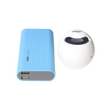 Combo of Callmate 12500 mAh Power Bank K510P with Lithium City Bluetooth Speaker - Sky Blue