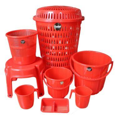 Chetan Plastic Bathroom Set of 8 Pcs Red