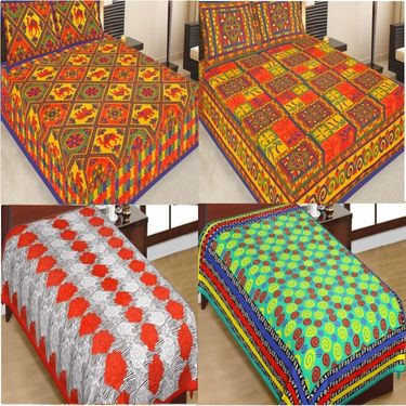 Traditional Jaipuri Print 100% Cotton 2 Double 2 Single Bedsheets With 4 Pillow Covers-PF101D2S2B