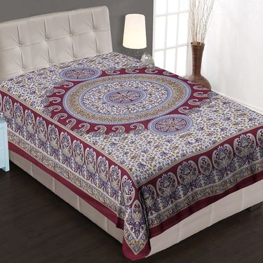 8 Cotton Single Bedsheets with Jaipuri Sanganeri Print-PF101S