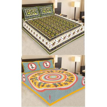 Set of 2 Traditional Jaipuri Print 100% Cotton Ethnic Double Bed sheets With 4 Pillow Covers -PF104DWP2B