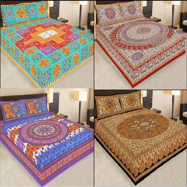 Set of 4 Traditional Jaipuri Print 100% Cotton Ethnic Double Bed sheets With 8 Pillow Covers -PF104DWP4B