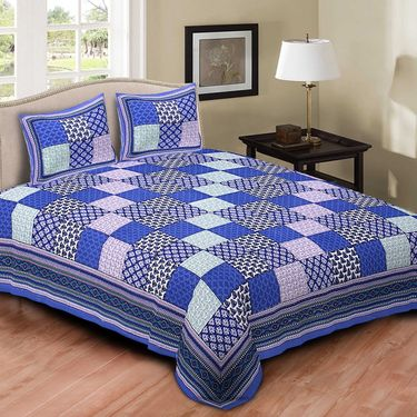 Set of 5 Jaipuri Cotton king size  Double Bedsheets With 10 Pillow Covers-PF10D5BWP
