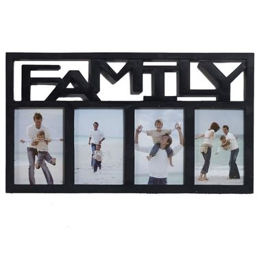 Black 4 Family Picture Collage Photo Frame