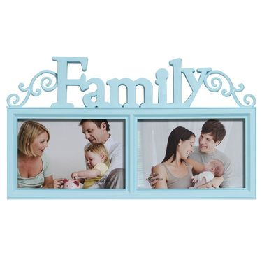 Stylish Sky Blue 2 Pictures Collage Photo Frame