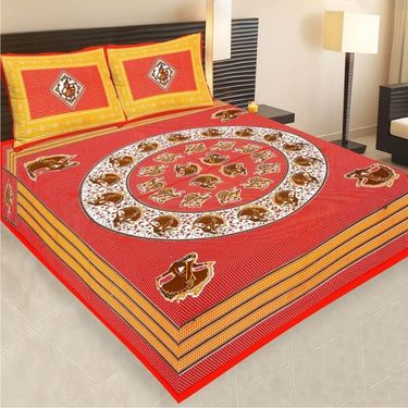 Set of 5 Jaipuri Cotton Sanganeri Printed  Double Bedsheets With 10 Pillow Covers-PF3D5BWP