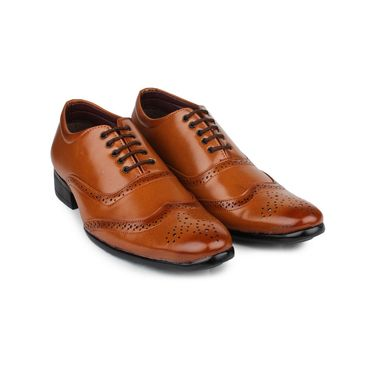 Pede Milan Synthetic Leather Tan Formal Shoes -pde48