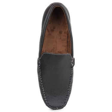 Pede Milan Synthetic Leather Black Loafers -pde16