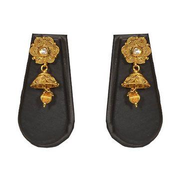 Pourni Stylish Brass Necklace Set_PRNK115 - Golden