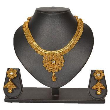 Pourni Stylish Brass Necklace Set_Prnk65 - Golden