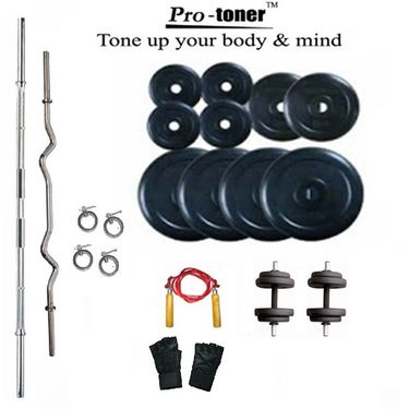 Protoner Weight Lifting Package 55 Kgs  +  5 ft. Straight +  3 ft. Curl Rod