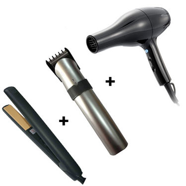Combo of Rechargeable Hair Trimmer + Straightener + Hair Dryer (Black)