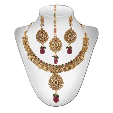 Panini Gold Plated Necklace Set - Multicolour _ 83