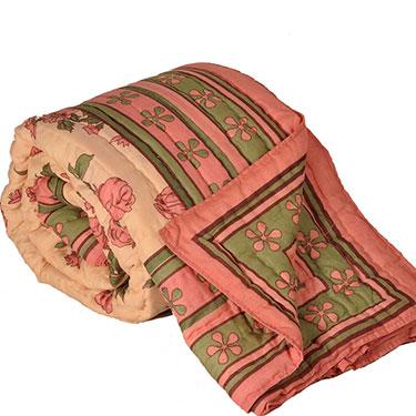 Little India Designer Printed Jaipuri Coton Double Bed AC Quilt - Multicolor- DLI3DRZ325