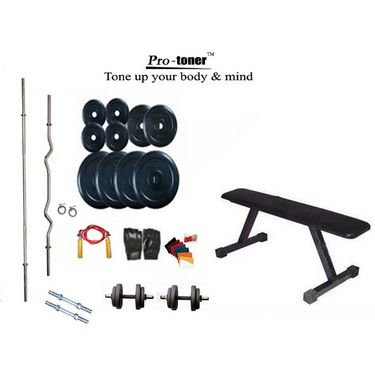 Protoner Weight Lifting Home Gym 32 Kg + Flat Bench + 4 Rods (1 Zig Zag) + Accessories