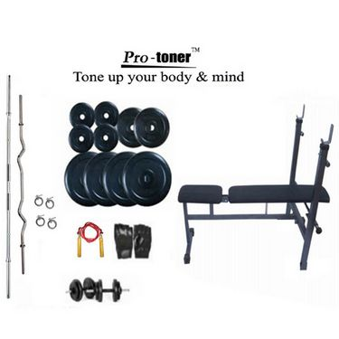 Protoner Weight Lifting Package 80 Kgs + 5 ft. Straight+ 3 ft. Curl Rod + Inc/Dec/Flat 3 In 1 Bench