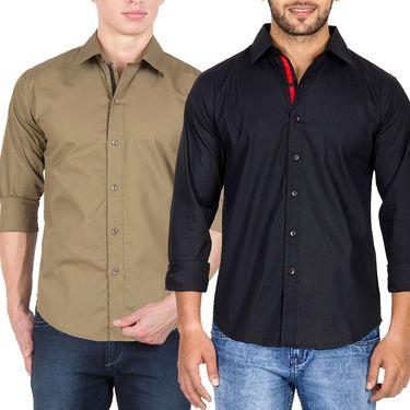 Pack of 2 Incynk Plain Cotton Shirt_qsc51 - Brown & Black