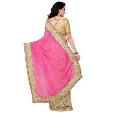 Indian Women Satin Chiffon Printed Saree -RA10606