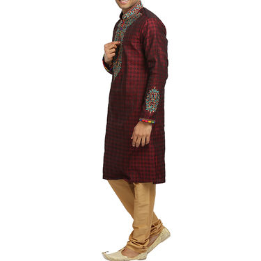 Runako Silk Full Sleeves Kurta Pyjama_RK4057 - Maroon