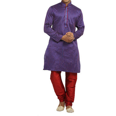 Runako Regular Fit Printed Party Wear Kurta Pyjama For Men_RK4088 - Purple