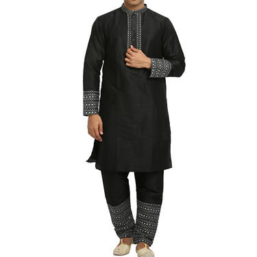 Runako Silk Full Sleeves Kurta Pyjama_RK4093 - Black