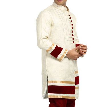 Runako Silk Full Sleeves Kurta Pyjama_RK4095 - Off White