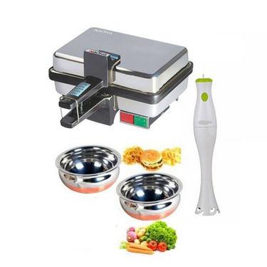 Combo Of Detak Sandwich Maker With Hand Blender & 2 Copper Based Handi Set