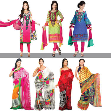 Ramya Collection of 3 Dress Material and 4 Printed Georgette Sarees