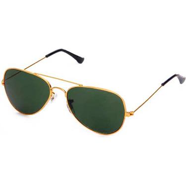Royal Son Golden Aviator Sunglasses - Green