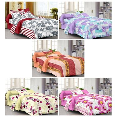 100% Cotton Multi Design Set of 5 Single Bedsheet with 5 Pillow Covers-SP1208_12_14_15_16