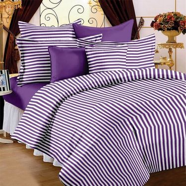 Set of 3 Cotton Single Bedsheet With 3 Pillow Cover-SP_1202_1203_1204