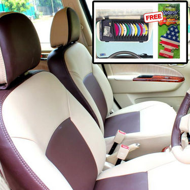 Samsun Car Seat Cover for Tata Indica V2 Xeta  - Beige & Brown