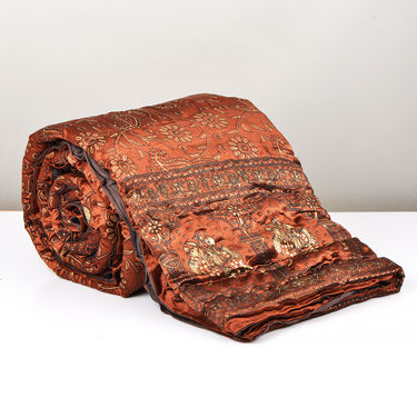 Set of 2 Brown Jaipuri Silk Razai with Gold Prints