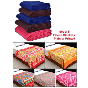 Set of 5 Fleece Blankets - Plain or Printed