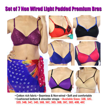 Set of 7 Non Wired Light Padded Premium Bras