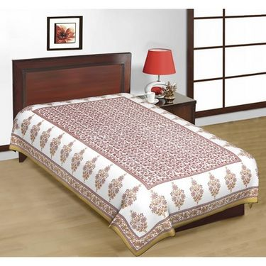 Shop Rajasthan Sanganeri Print Multicolor Cotton Single Bed Sheet-SRB2229