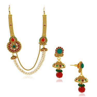 Spargz Designer Rani Pearl Necklace Set - Multicolor _ AINS092