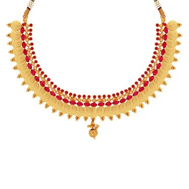 Spargz Coin Design Kemp Stone Design Necklace Set - Red _ KNS3008