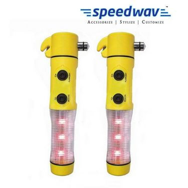 Speedwav 5 in 1 Car Emergency Tool with Hammer, LED Flashlight, Safety Belt Cutter, Magnet Surface & Torch(Set Of 2)
